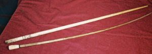 Whalebone canes. The lower cane belonged to Jacob Fowler (From the collections of the Tantaquidgeon Indian Museum, Uncasville, CT)